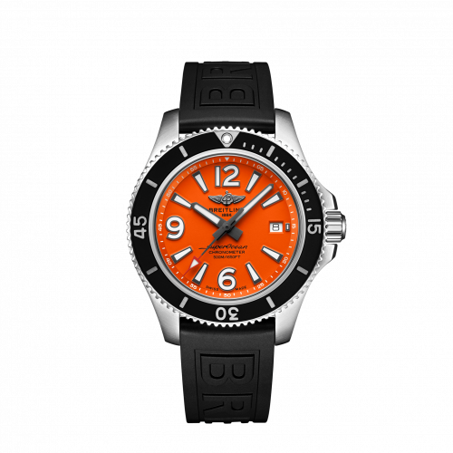Breitling A17366D71O1S1 : Superocean 42 Stainless Steel / Orange / Rubber / Pin