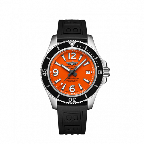 Breitling A17366D71O1S2 : Superocean 42 Stainless Steel / Orange / Rubber / Folding