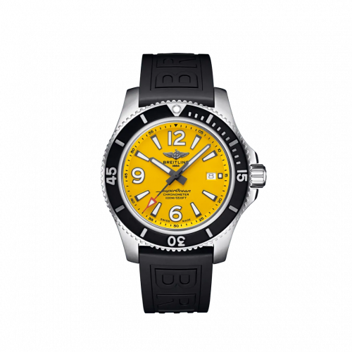 Breitling A17367021I1S1 : Superocean 44 Stainless Steel / Yellow / Rubber / Pin