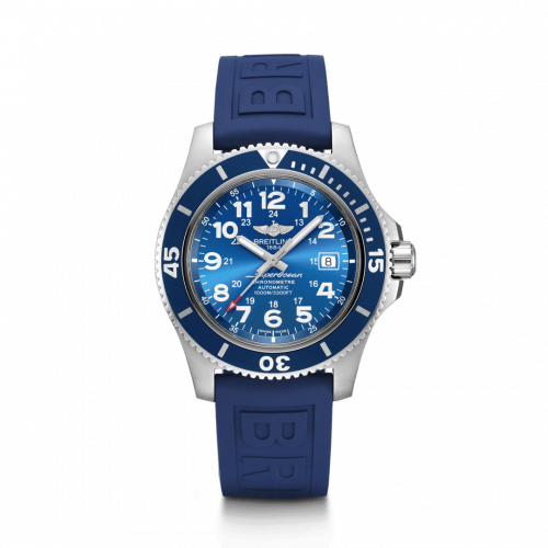 Breitling A17392D81C1S2 : Superocean II 44 Stainless Steel / Blue / Mariner Blue / Rubber / Folding