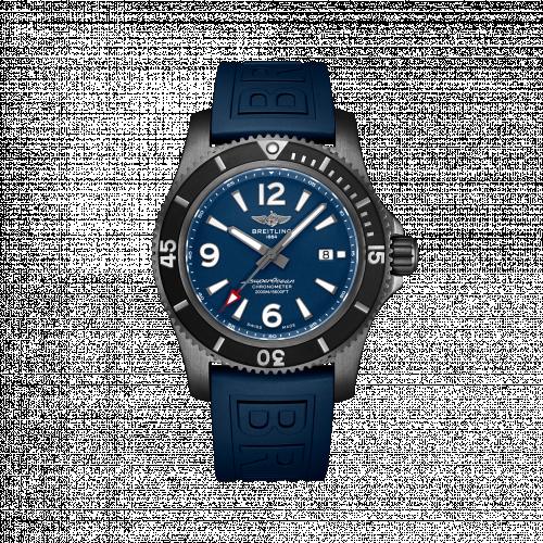 Breitling M17368D71C1S1 : Superocean 46 Blacksteel / Blue / Rubber / Pin
