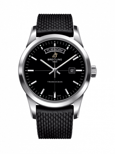 Breitling A4531012/BB69/278S/A20S.1 : Transocean Day & Date Stainless Steel / Black / Rubber / Pin