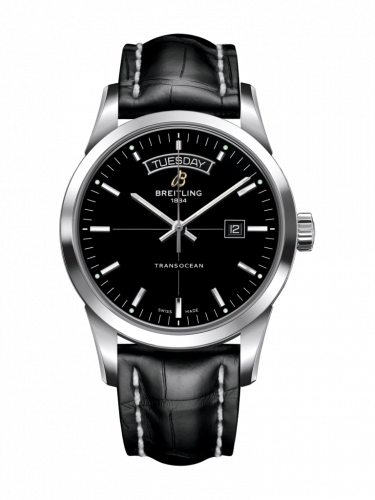 Breitling A4531012/BB69/743P/A20BA.1 : Transocean Day & Date Stainless Steel / Black / Croco / Pin
