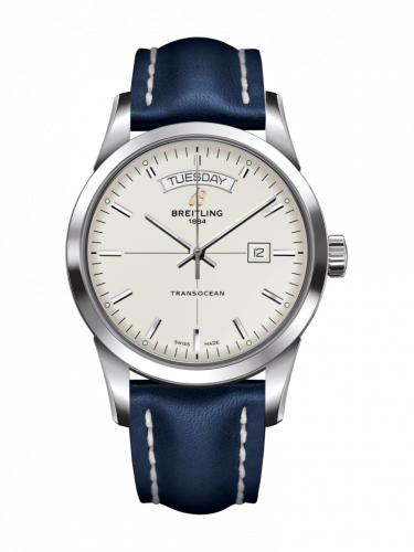 Breitling A4531012/G751/105X/A20BA.1 : Transocean Day & Date Stainless Steel / Silver / Calf / Pin