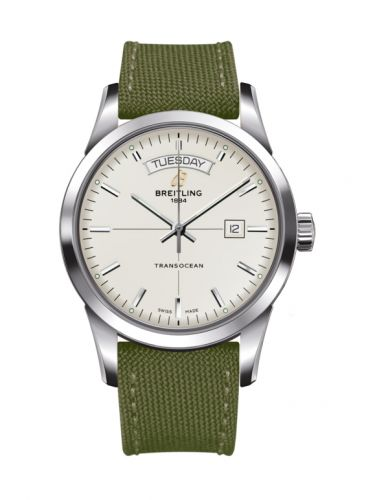Breitling A4531012/G751/106W/A20BA.1 : Transocean Day & Date Stainless Steel / Silver / Military / Pin