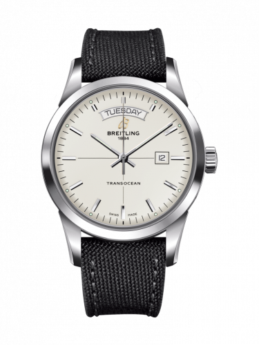 Breitling A4531012/G751/109W/A20BA.1 : Transocean Day & Date Stainless Steel / Silver / Military / Pin