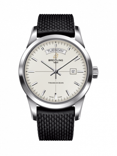 Breitling A4531012/G751/278S/A20S.1 : Transocean Day & Date Stainless Steel / Silver / Rubber / Pin
