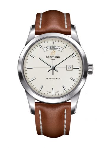 Breitling A4531012/G751/433X/A20BA.1 : Transocean Day & Date Stainless Steel / Silver / Calf / Pin