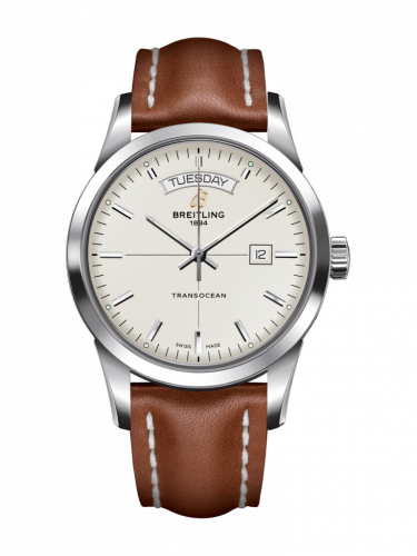 Breitling A4531012/G751/434X/A20D.1 : Transocean Day & Date Stainless Steel / Silver / Calf / Folding