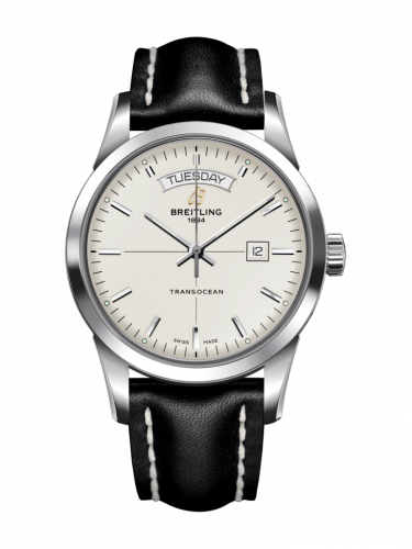 Breitling A4531012/G751/435X/A20BA.1 : Transocean Day & Date Stainless Steel / Silver / Calf / Pin