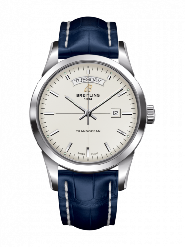Breitling A4531012/G751/731P/A20BA.1 : Transocean Day & Date Stainless Steel / Silver / Croco / Pin