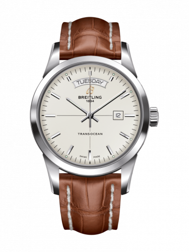 Breitling A4531012/G751/738P/A20D.1 : Transocean Day & Date Stainless Steel / Silver / Croco / Folding