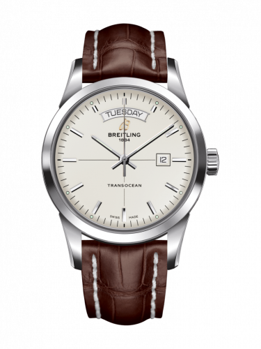 Breitling A4531012/G751/740P/A20D.1 : Transocean Day & Date Stainless Steel / Silver / Croco / Folding
