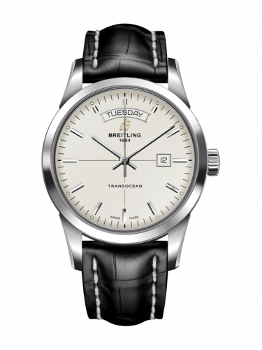 Breitling A4531012/G751/743P/A20BA.1 : Transocean Day & Date Stainless Steel / Silver / Croco / Pin