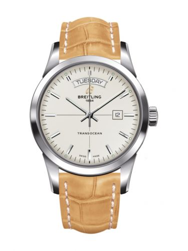 Breitling A4531012/G751/745P/A20BA.1 : Transocean Day & Date Stainless Steel / Silver / Croco / Pin
