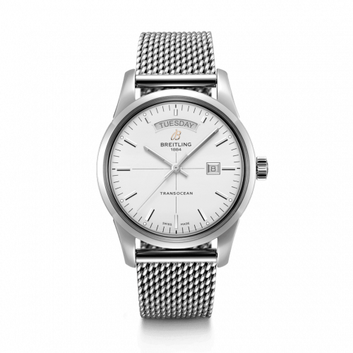Breitling A45310121G1A1 : Transocean Day & Date Stainless Steel / Silver / Milanese