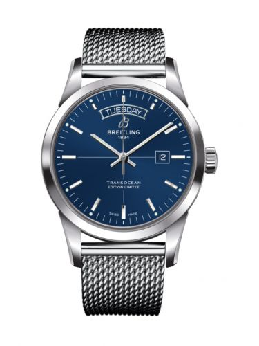 Breitling A453109T.C921.154A : Transocean Day & Date Stainless Steel / Blue / Milanese