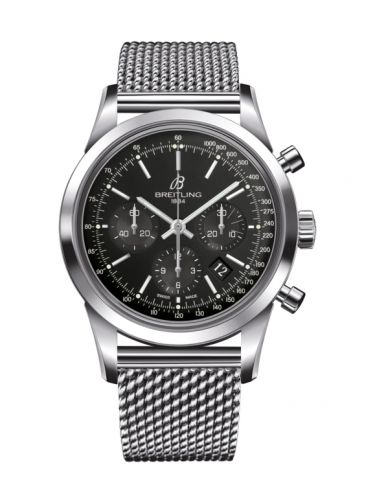 AB0152121B1A1 : Breitling Transocean Chronograph Stainless Steel / Black / Bracelet