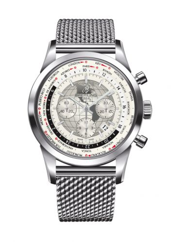 AB0510U0.A790.152A : Breitling Transocean Chronograph Unitime Stainless Steel / Silver / Milanese