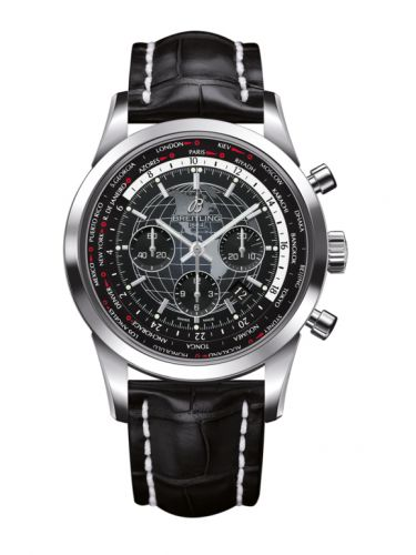 Breitling AB0510U4.BE84.760P : Transocean Chronograph Unitime Stainless Steel / Black / Croco