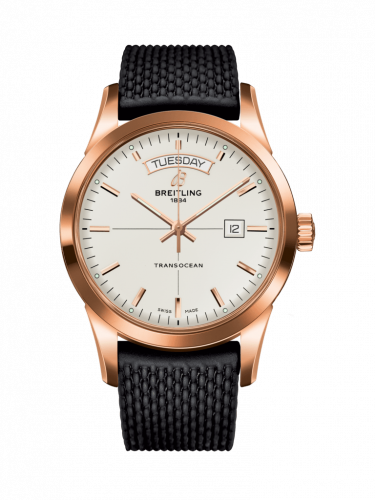 Breitling R4531012/G752/279S/R20D.3 : Transocean Day & Date Red Gold / Silver / Rubber / Folding
