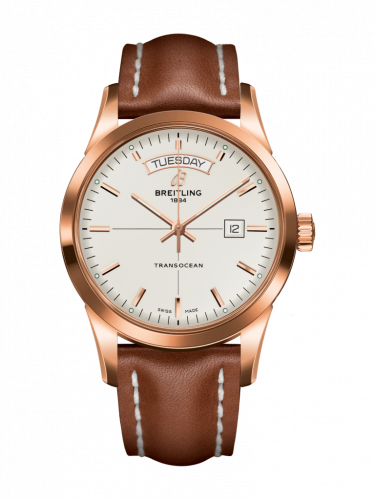 Breitling R4531012/G752/434X/R20D.1 : Transocean Day & Date Red Gold / Silver / Calf / Folding