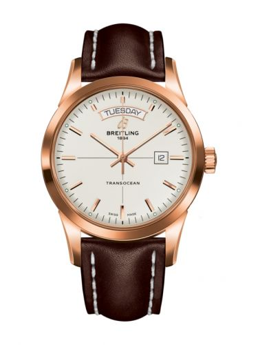 Breitling R4531012/G752/437X/R20BA.1 : Transocean Day & Date Red Gold / Silver / Calf / Pin
