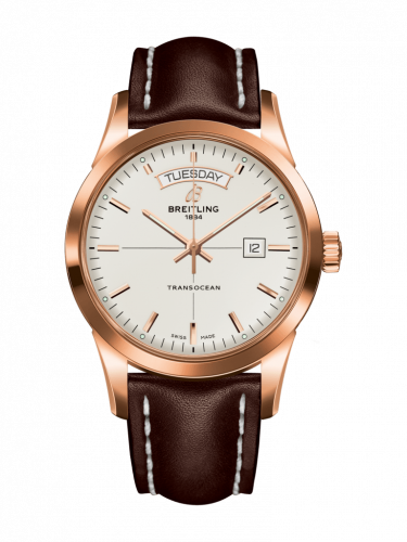 Breitling R4531012/G752/438X/R20D.1 : Transocean Day & Date Red Gold / Silver / Calf / Folding