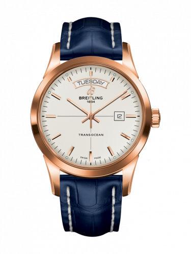 Breitling R4531012/G752/731P/R20BA.1 : Transocean Day & Date Red Gold / Silver / Croco / Pin