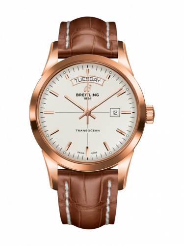 Breitling R4531012/G752/738P/R20D.1 : Transocean Day & Date Red Gold / Silver / Croco / Folding