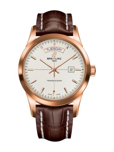 Breitling R45310121G1P1 : Transocean Day & Date Red Gold / Silver / Croco / Pin