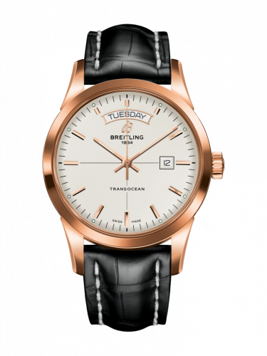 Breitling R4531012/G752/743P/R20BA.1 : Transocean Day & Date Red Gold / Silver / Croco / Pin