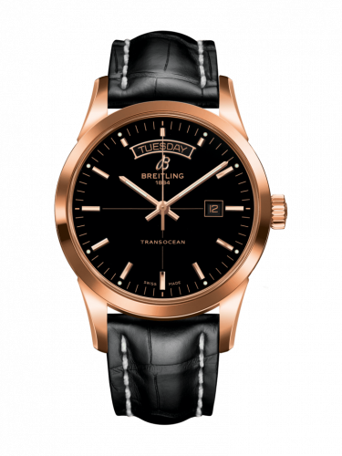 Breitling R45310121B1P1 : Transocean Day & Date Red Gold / Black / Croco / Pin