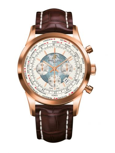 Breitling RB0510U0.A733.756P : Transocean Chronograph Unitime Red Gold / Silver / Croco