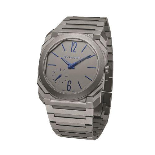 Bulgari 102945 : Octo Finissimo Automatic Titanium / Grey - Blue / Bracelet