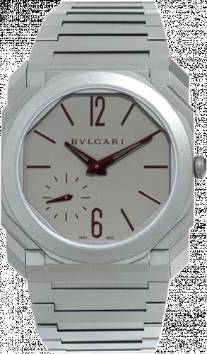 Bulgari 103296 : Octo Finissimo Automatic Titanium / Grey - Burgundy / Bracelet