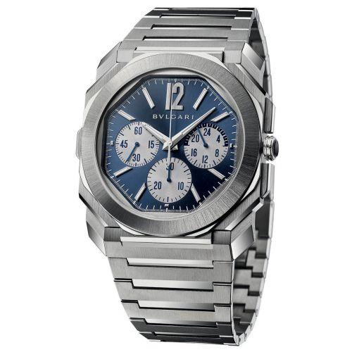 Bulgari 103467 : Octo Finissimo S Chronograph GMT Stainless Steel / Blue / Bracelet