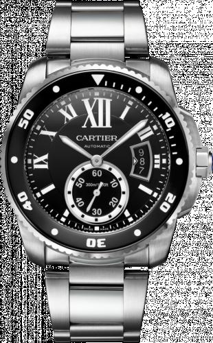 Cartier W7100057 : Calibre de Cartier Diver Stainless Steel / Black / Bracelet