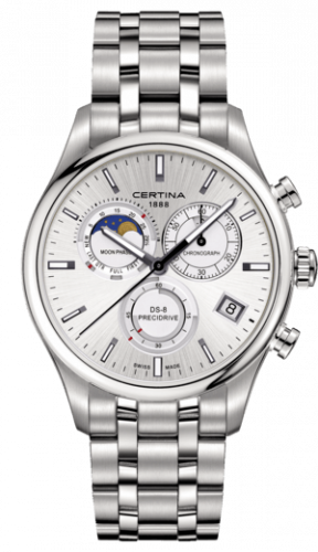 Certina C033.450.11.031.00 : DS-8 Chronograph Moon Phase Stainless Steel / Silver / Bracelet
