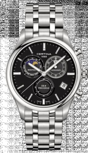 Certina C033.450.11.051.00 : DS-8 Chronograph Moon Phase Stainless Steel / Black / Bracelet