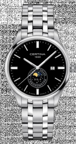 Certina C033.457.11.051.00 : DS-8 Moon Phase Stainless Steel / Black / Bracelet