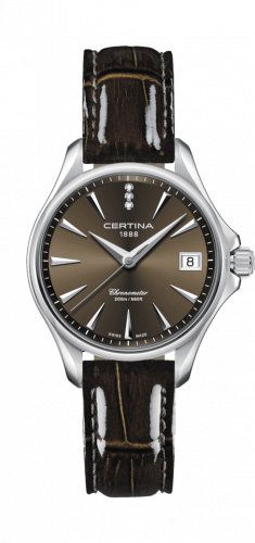 Certina C032.051.16.296.00 : DS Action Diamonds 33.8 Stainless Steel / Brown / Strap