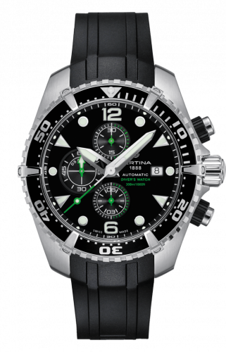 C032.427.17.051.00 : Certina DS Action Diver Chronograph Automatic Stainless Steel / Black / Rubber