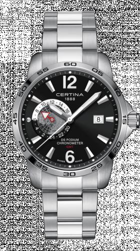 Certina C034.455.11.057.00 : DS Podium GMT Stainless Steel / Black / Bracelet
