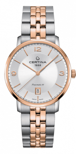 Certina C035.407.22.037.01 : DS Caimano Powermatic 80 Stainless Steel / Rose Gold PVD / Silver / Bracelet