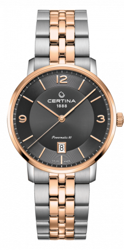 Certina C035.407.22.087.01 : DS Caimano Powermatic 80 Stainless Steel / Rose Gold PVD / Grey / Bracelet