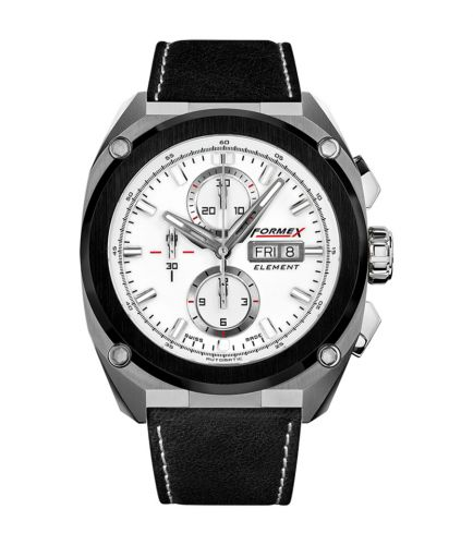 Formex 1200.5.8017.713 : Element Automatic Chronograph Ceramic Bezel / White / Calf