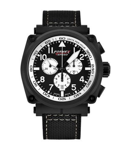 Formex 1100.4.3014.213 : Pilot Quartz Chronograph PVD / Black - White / Calf