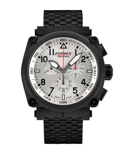 Formex 1100.4.3044.110 : Pilot Quartz Chronograph PVD / Silver / Bracelet