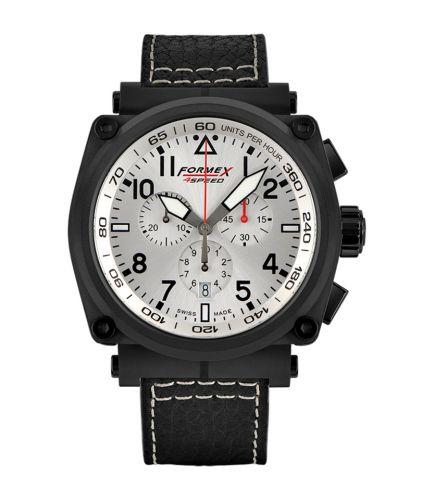 Formex 1100.4.3044.213 : Pilot Quartz Chronograph PVD / Silver / Calf